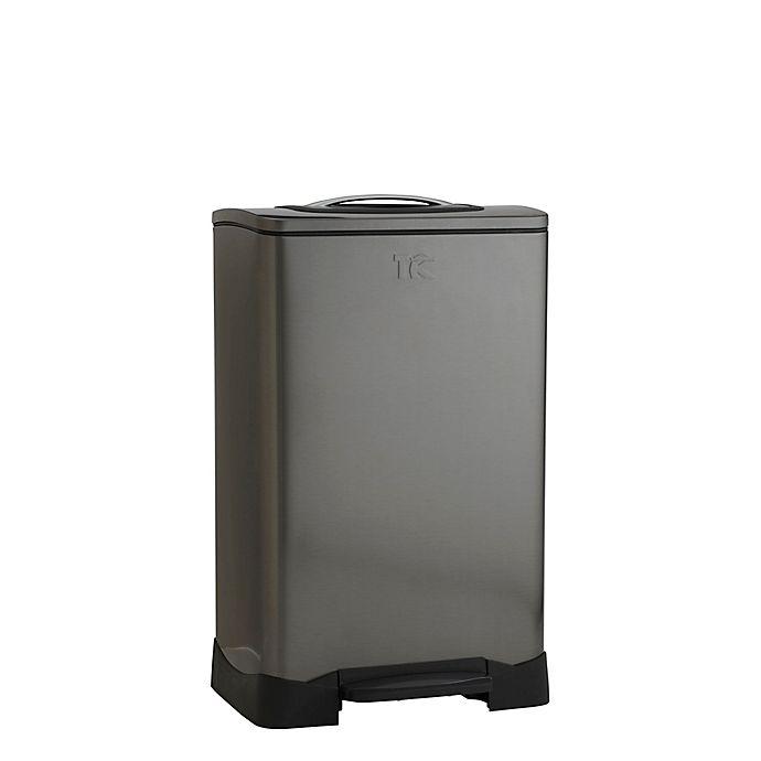 Alternate image 1 for Household Essentials® 50-Liter Stainless Steel Rectangular Trash Krusher Step Trash