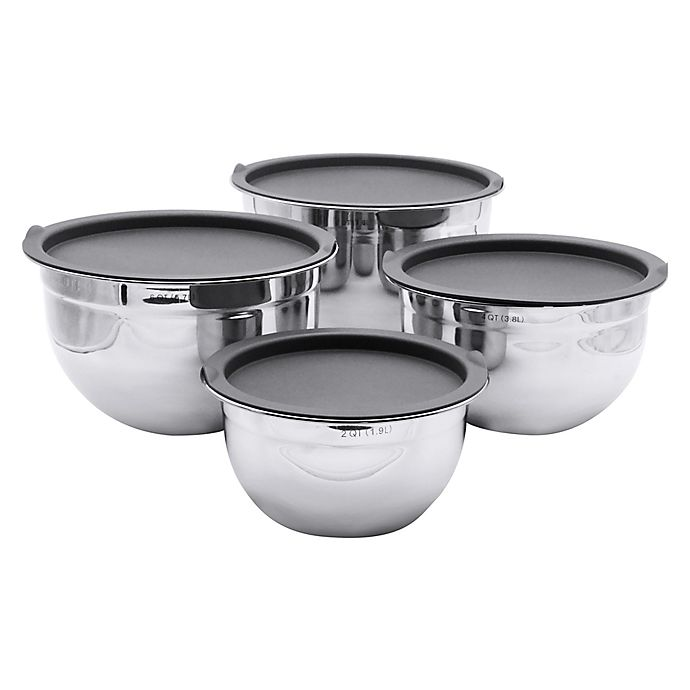 Alternate image 1 for Artisanal Kitchen Supply® 4-piece Stainless Steel Mixing Bowl set