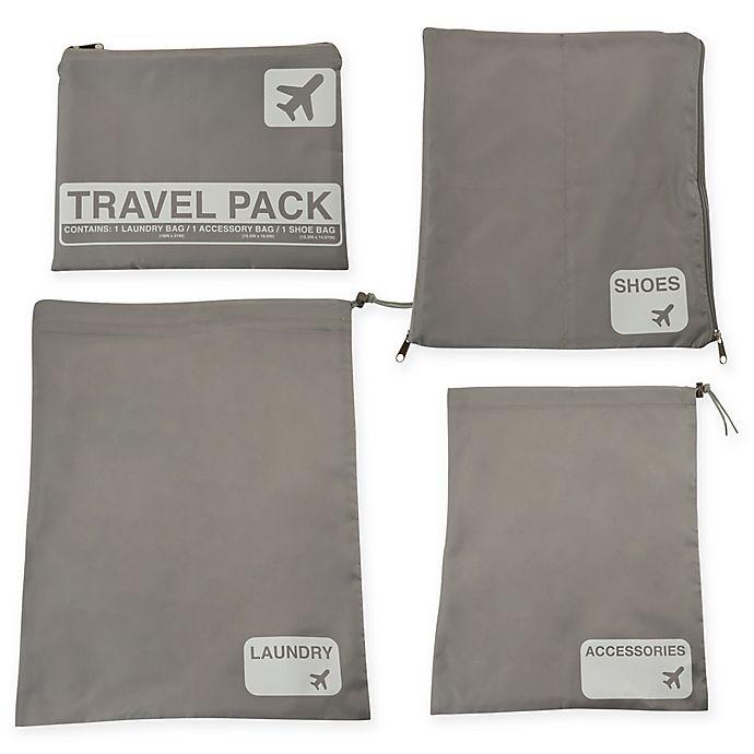 Alternate image 1 for Latitude 40°N™ Jet Set 4-Piece Travel Laundry Bag Set