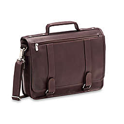 Piel® Leather Double Loop Expandable Laptop Case in Chocolate