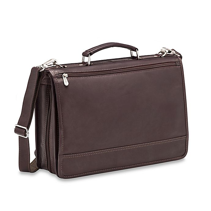 Alternate image 1 for Piel® Leather 2-Section Expandable Laptop Case in Chocolate