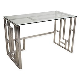 LumiSource Mandarin Desk in Chrome/Glass