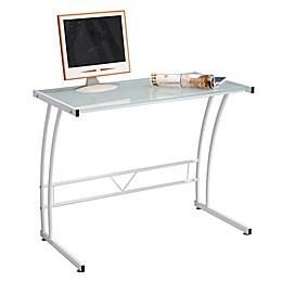 Lumisource Sigma Contemporary Glass Computer Desk in White