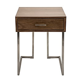 LumiSource Roman Contemporary End Table in Walnut