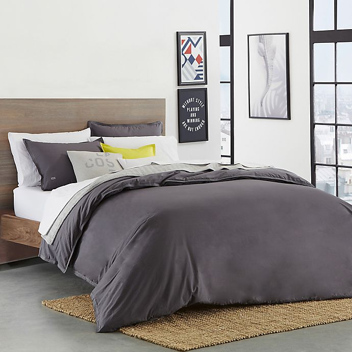 Alternate image 1 for Lacoste Solid Castlerock Full/Queen Duvet Cover Set in Dark Grey