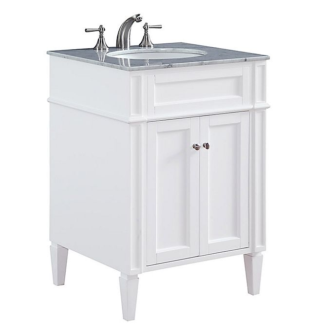 Park Ave 24 Inch Single Vanity In White With Carrara