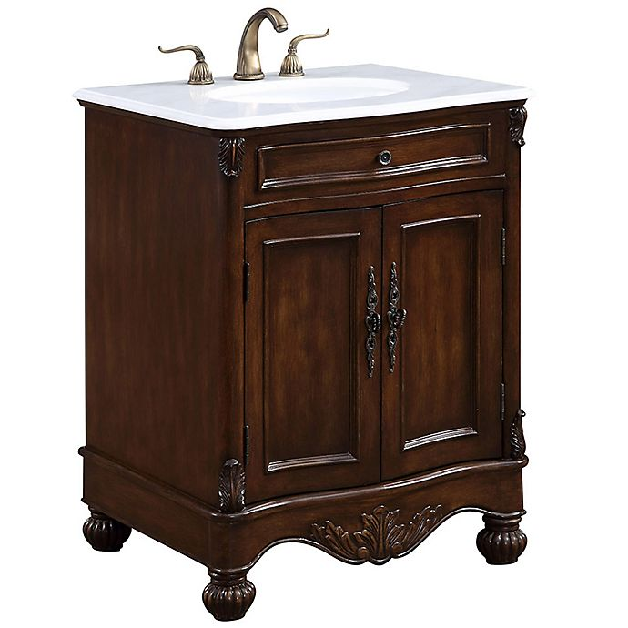 27 Inch Bathroom Vanities: Windsor 27-Inch Single Vanity In Teak With Gaungxi White