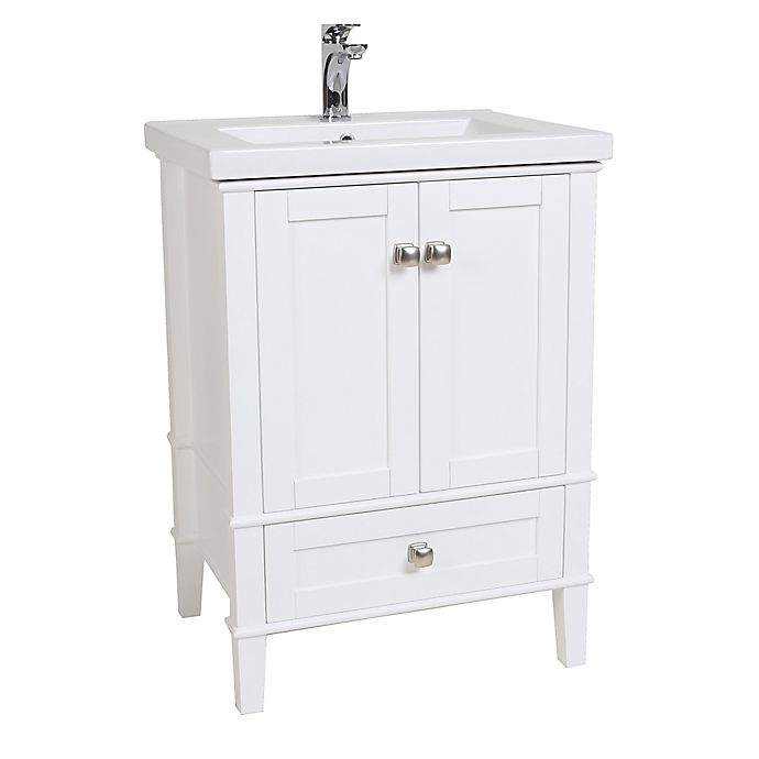 Aqua 24-Inch Single Vanity in White with Porcelain Sink ...
