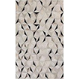 Surya Luiana Geometric 2' x 3' Cowhide Accent Rug in Charcoal