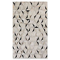 Surya Luiana Geometric 5' x 8' Cowhide Area Rug in Charcoal
