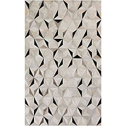 Surya Luiana Geometric 8' x 10' Cowhide Area Rug in Charcoal
