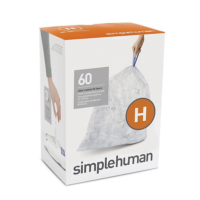 Alternate image 1 for simplehuman® Code H 60-Pack 30-35-Liter Custom-Fit Liners in Clear