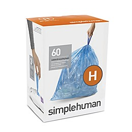 simplehuman® Code H 60-Pack 30-35-Liter Custom-Fit Recyclable Liners in Blue