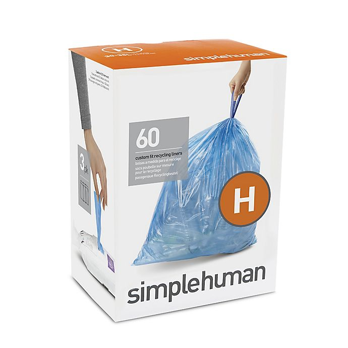 Alternate image 1 for simplehuman® Code H 30-35-Liter Custom-Fit Recyclable Liners in Blue