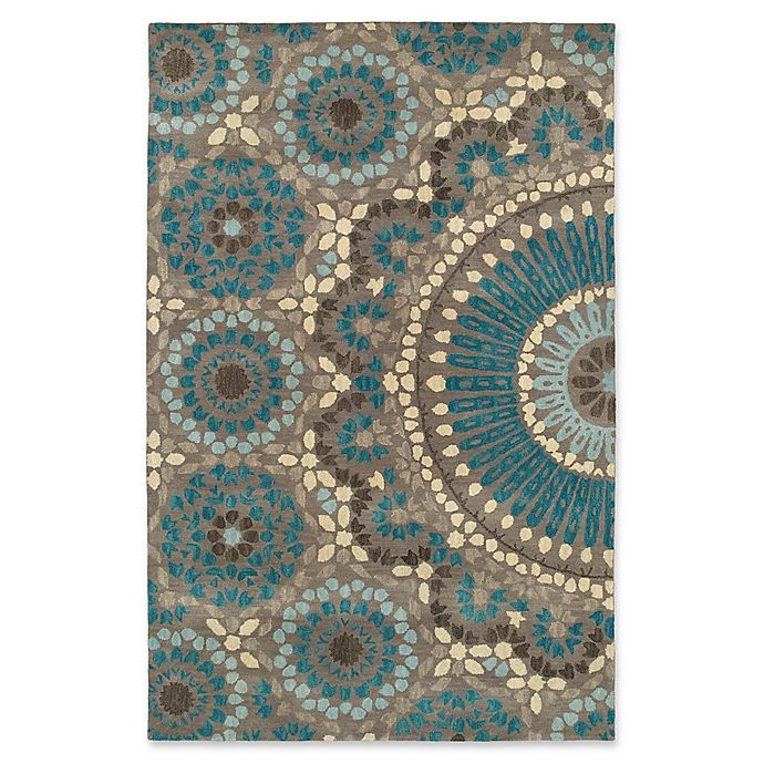 Alternate image 1 for Kaleen Rosaic Lace Impressions 8-Foot x 11-Foot Area Rug in Teal