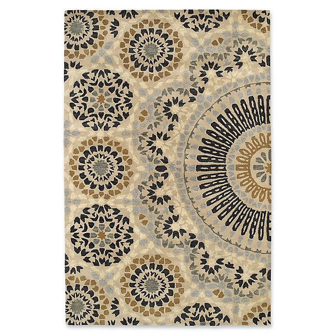 Alternate image 1 for Kaleen Rosaic Lace Impressions 8-Foot x 11-Foot Area Rug in Charcoal