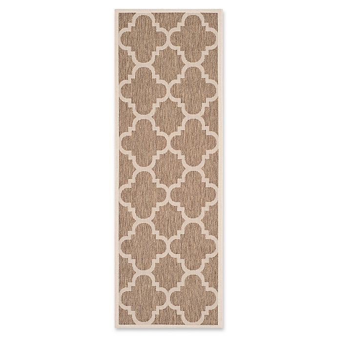 Alternate image 1 for Safavieh Courtyard Geometric 2-Foot 3-inch x 6-Foot 6-Inch Indoor/Outdoor Runner in Brown