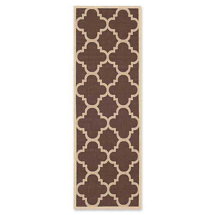 Alternate image 1 for Safavieh Courtyard Geometric 2-Foot 3-Inch x 6-Foot 6-Inch Indoor/Outdoor Runner in Dark Brown
