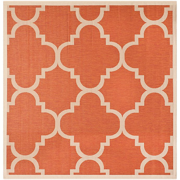 Alternate image 1 for Safavieh Courtyard Geometric 4-Foot Square Indoor/Outdoor Accent Rug in Terracotta