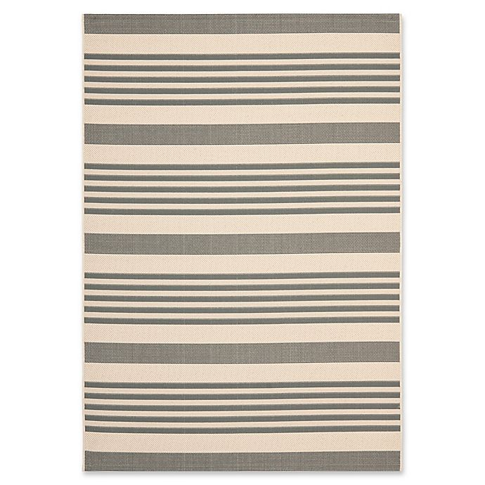Alternate image 1 for Safavieh Courtyard Stripes 5-Foot 3-Inch x 7-Foot 7-nch Indoor/Outdoor Rug in Grey/Bone