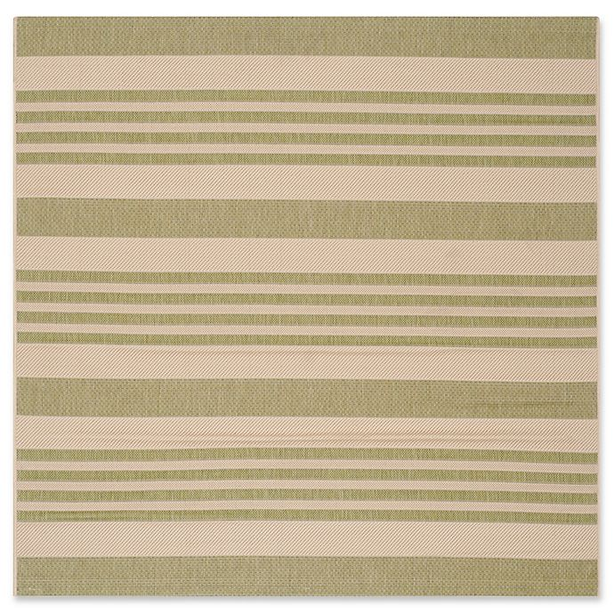 Alternate image 1 for Safavieh Courtyard Stripes 5-Foot Square Indoor/Outdoor Area Rug in Light Green/Beige