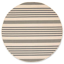 Safavieh Courtyard Stripes 6-Foot 7-Inch Round Indoor/Outdoor Area Rug in Grey/Bone