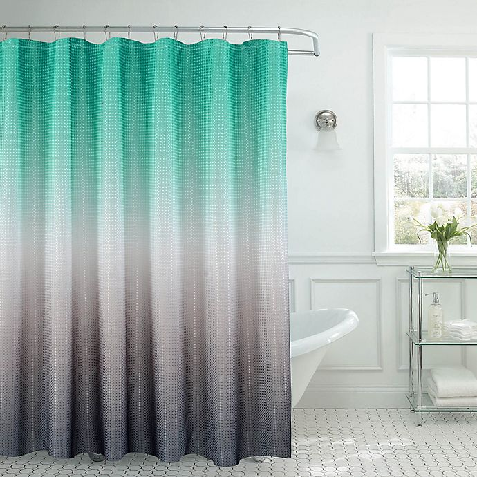 Alternate image 1 for Ombre Waffle Shower Curtain in Turquoise/Grey