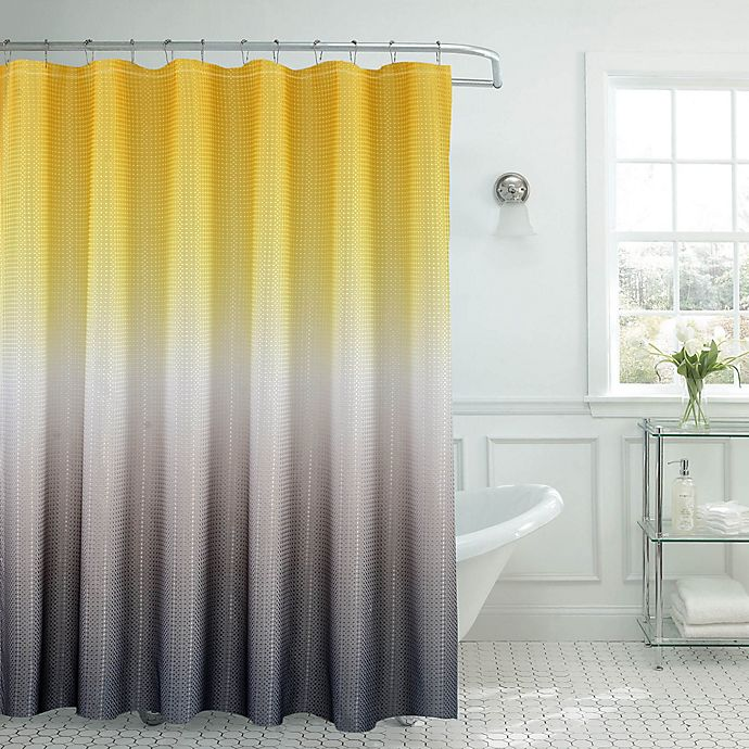 Alternate image 1 for Ombre Waffle Shower Curtain in Yellow/Grey