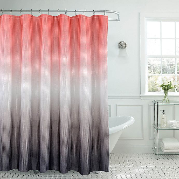 Alternate image 1 for Ombre Waffle Shower Curtain in Coral/Grey