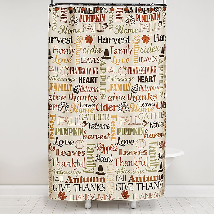 Saturday Knight 13 Piece Autumn Words Shower Curtain And Hook Set