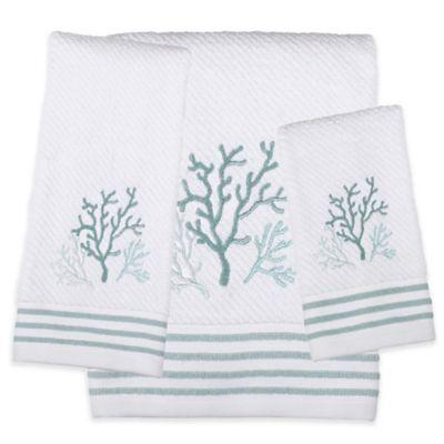 Saturday Knight Coral Reef Bath Towel In White Bed Bath
