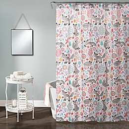 Pixie Fox Shower Curtain in Grey/Pink