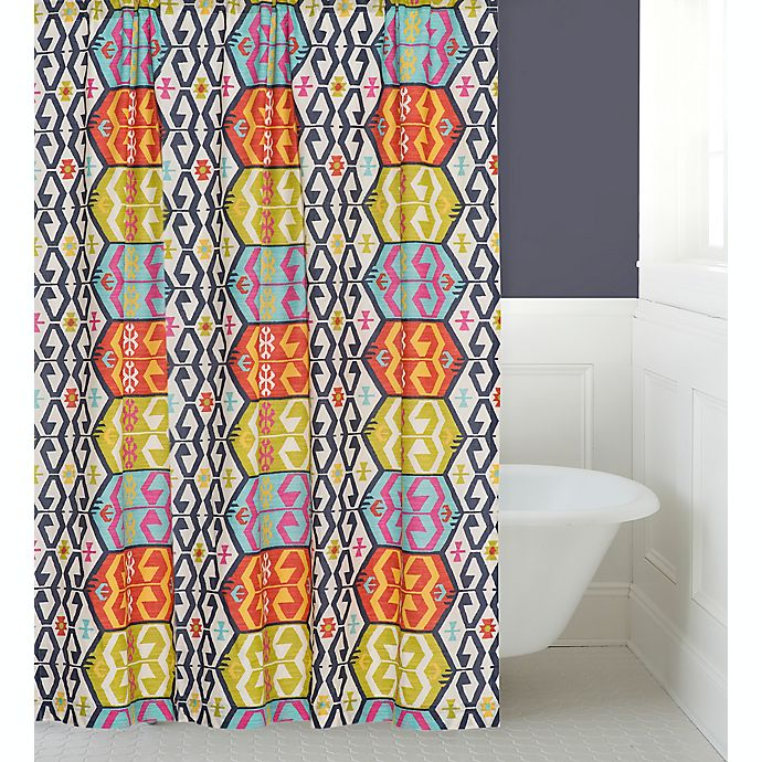 Levtex Home Moesha Shower Curtain In Navy Red