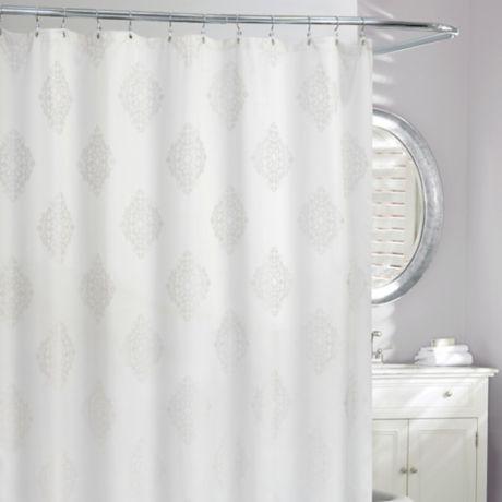 remy medallion shower curtain in grey white bed bath beyond. Black Bedroom Furniture Sets. Home Design Ideas