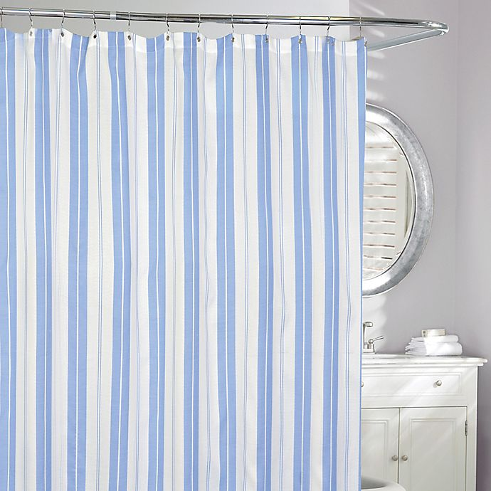 Alternate image 1 for Turq Striped Shower Curtain in Blue