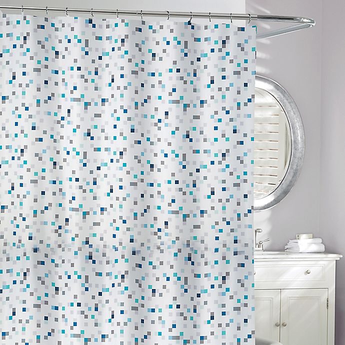 Alternate image 1 for Tuttio Geometric Shower Curtain in Blue/Grey