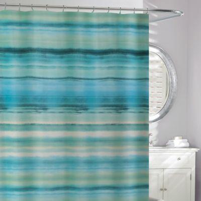 Ocean Watercolor Shower Curtain In Blue Green