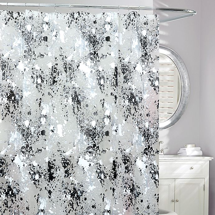 Storm Frosted Shower Curtain In Blackwhite Bed Bath Beyond