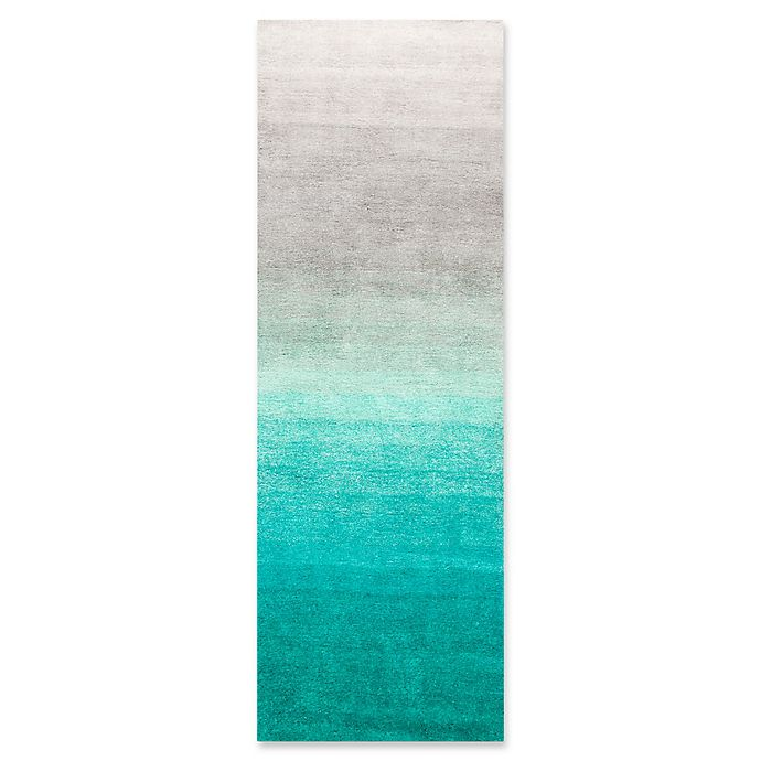 Alternate image 1 for nuLOOM Ombre 2-Foot 6-Inch x 8-Foot Shag Runner in Turquoise