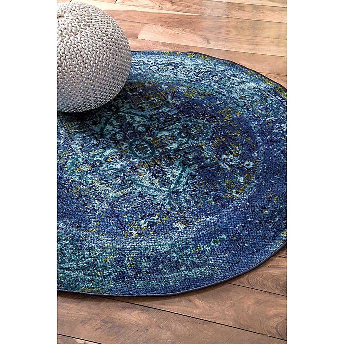 Alternate image 1 for nuLOOM Vintage Reiko 5-Foot Round Area Rug in Blue