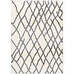 Surya Aynwild Broken Geometric Shag 2-Foot x 3-Foot Accent Rug in White