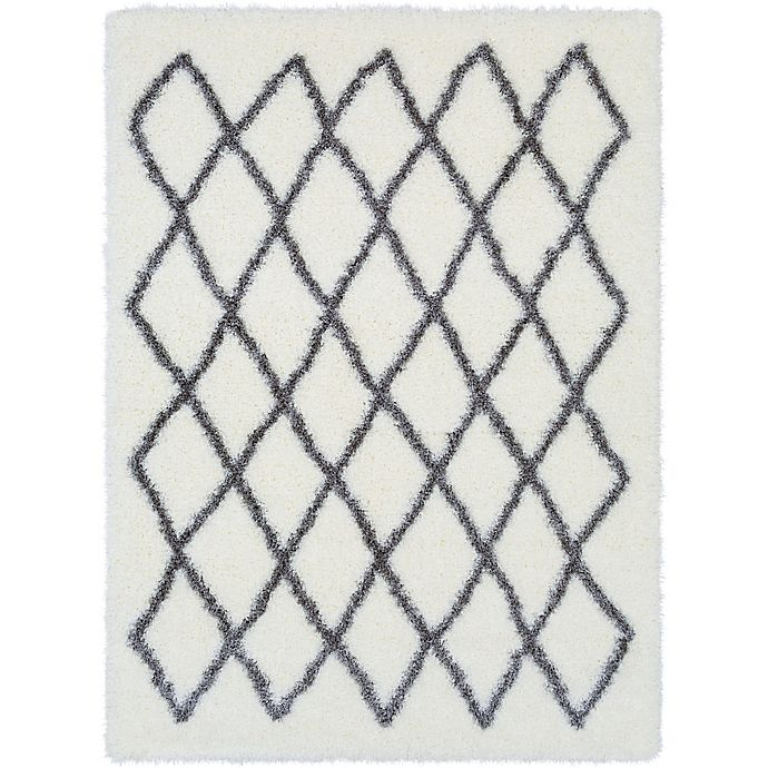 Alternate image 1 for Surya Aynwild Geometric Shag 2-Foot x 3-Foot Accent Rug in White