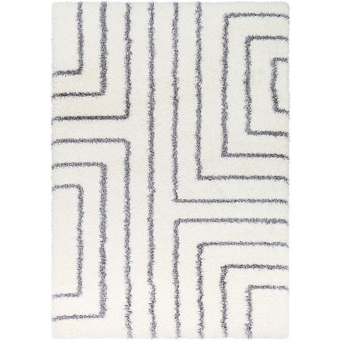Alternate image 1 for Surya Aynwild Maze Shag 2-Foot x 3-Foot Accent Rug in White