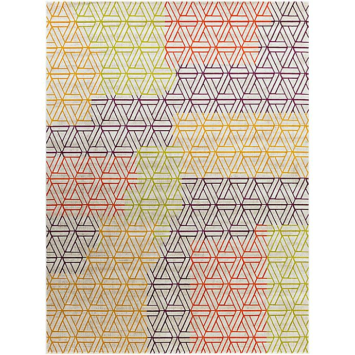 Alternate image 1 for Ladeen Geometric 7-Foot 6-Inch x 10-Foot 6-Inch Area Rug in Burgundy