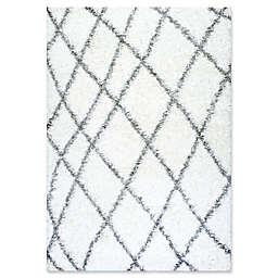 nuLOOM Alvera Diamond Easy Shag 4-Foot x 6-Foot Accent Rug in White