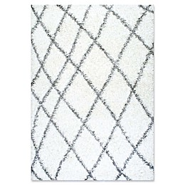 nuLOOM Alvera Diamond Easy Shag Rug in White