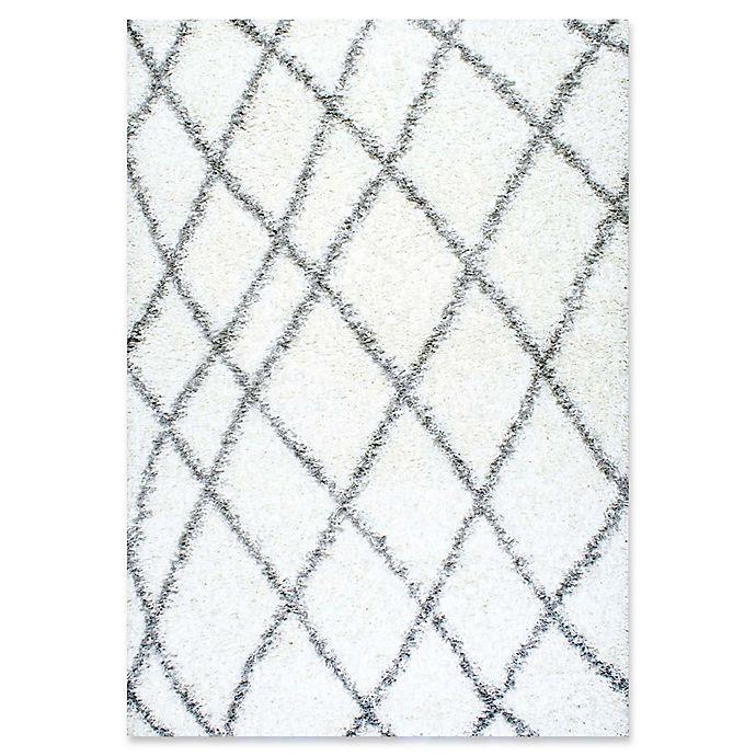 Alternate image 1 for nuLOOM Alvera Diamond Easy Shag Rug in White