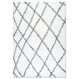 nuLOOM Alvera Diamond Easy Shag 7-Foot 9-Inch x 10-Foot Area Rug in White