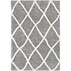 Surya Aynwild Diamond Trellis Shag 2-Foot x 3-Foot Area Rug in Grey/White