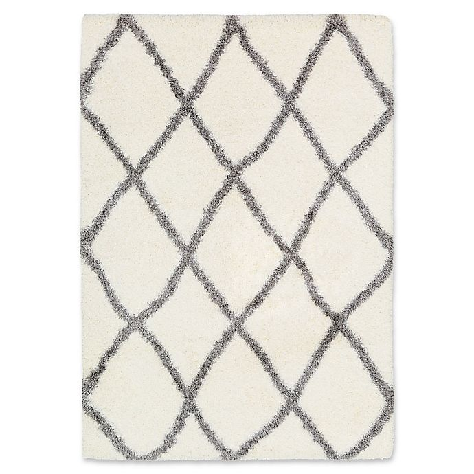 Alternate image 1 for Surya Aynwild Diamond Trellis Shag 5-Foot 3-Inch x 7-Foot 3-Inch Area Rug in White/Grey